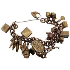 Vintage Rose and Yellow Gold Padlock Charm Bracelet