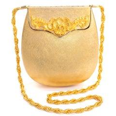 Vintage Rosenfeld Made in Italy Gold Metal Hard Case Handbag Shoulder Bag