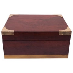Vintage Rosewood and Spanish Cedar Cigar Box / Humidor with Brass Accents