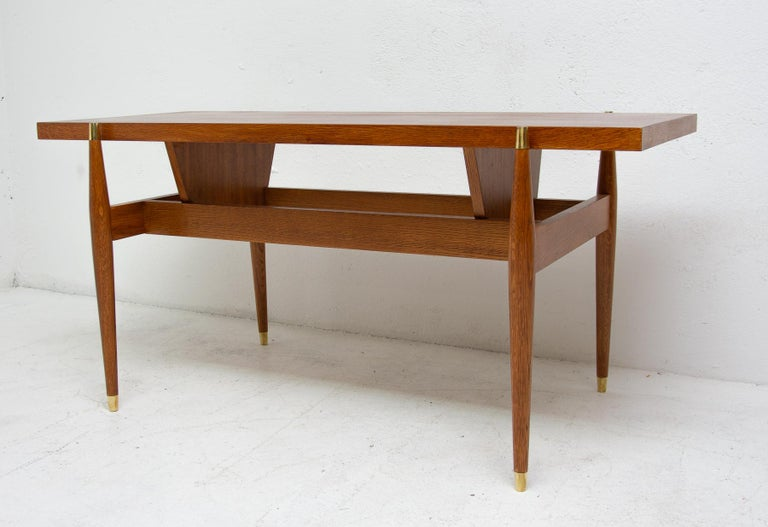 Brass Vintage Rosewood Coffee Table from Czechoslovakia, 1970s For Sale