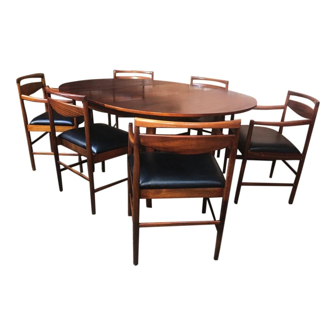 Vintage Rosewood Foldout Dining Table 6 Chairs Tom Robertson for McIntosh, 1960