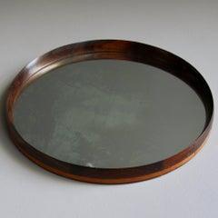 Vintage Rosewood & Leather Mirror Denmark 1950s
