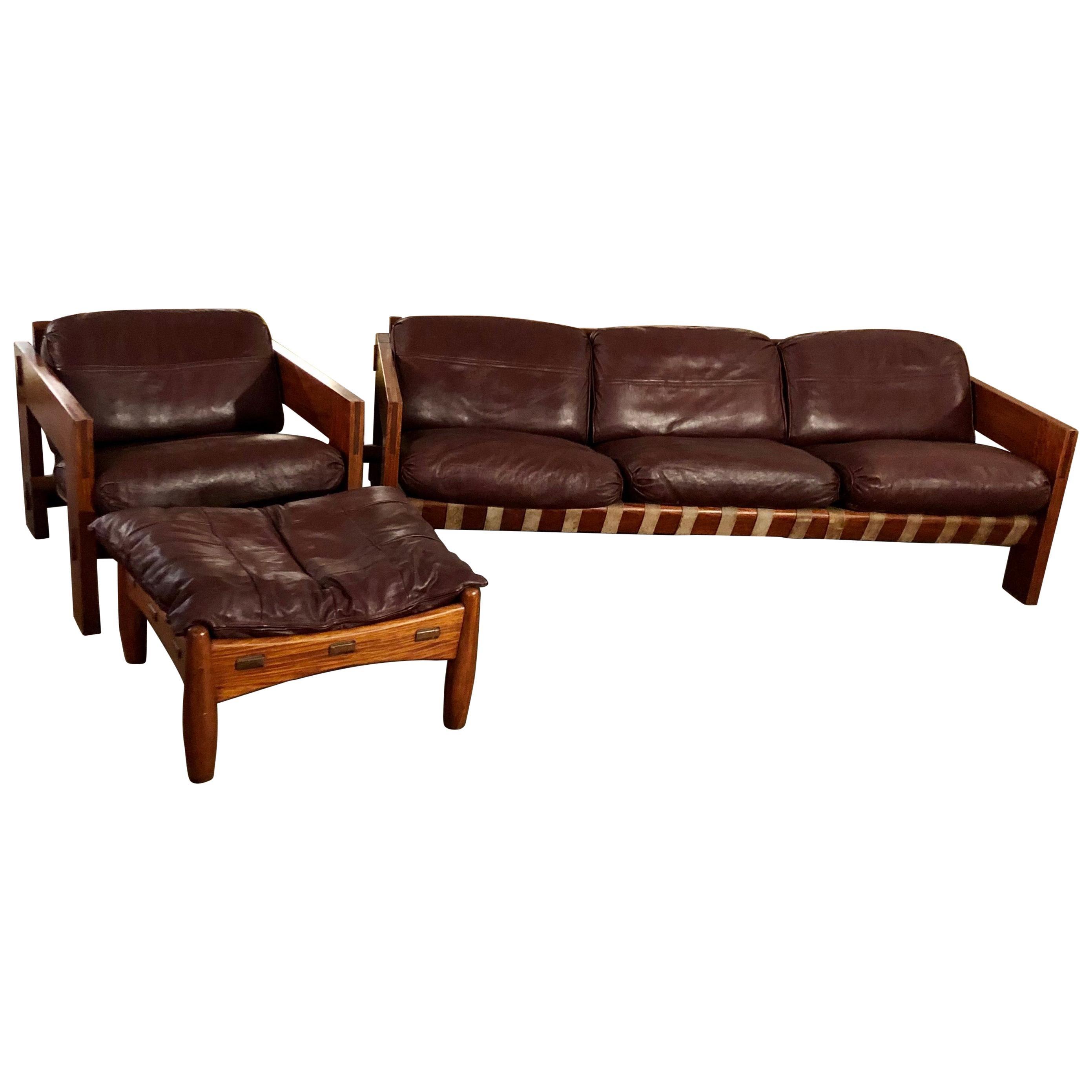 Vintage Rosewood/Leather Sofa & Armchair w/ Ottoman Set Attrib. Sergio Rodrigues