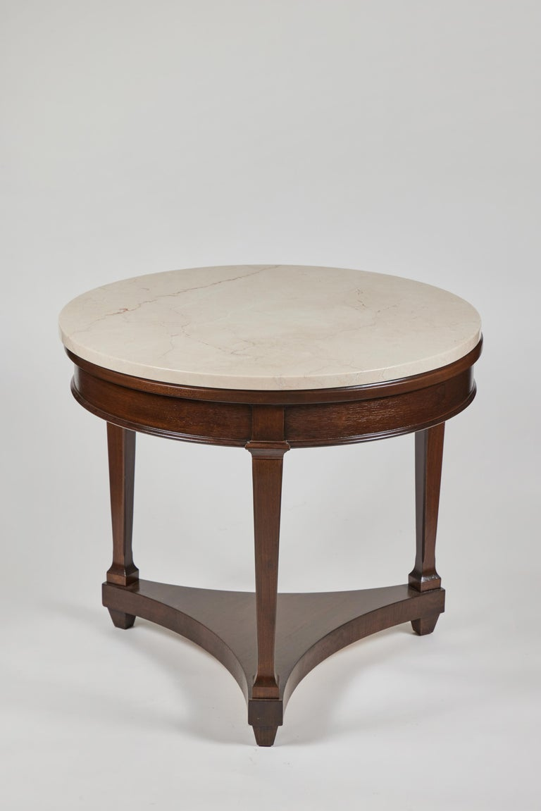 Vintage round 3 leg oak side table, newly refurbished and with a new creamy/gold marble top.