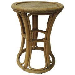 Vintage Round Bamboo and Rattan Side Table or Stool