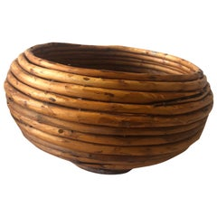 Vintage Round Bamboo Coiled Asian Bowl