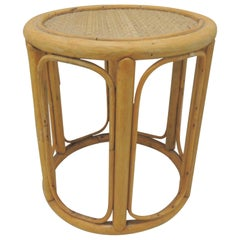 Vintage Round Bamboo Stool or Drinks Table