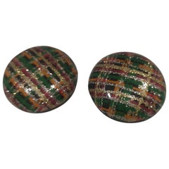 Vintage round black glitter multicoloured clip-on earrings