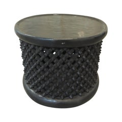 Vintage Round Black Hand Carved African Round Coffee Table