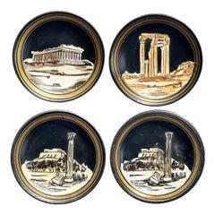 Vintage Round Black Jasper Clay Grand Tour Greek Plate Set, Set of 4