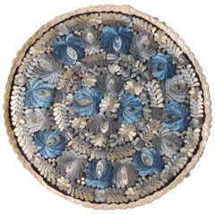 Vintage Round Blue and Black Silk Embroidered Table Topper
