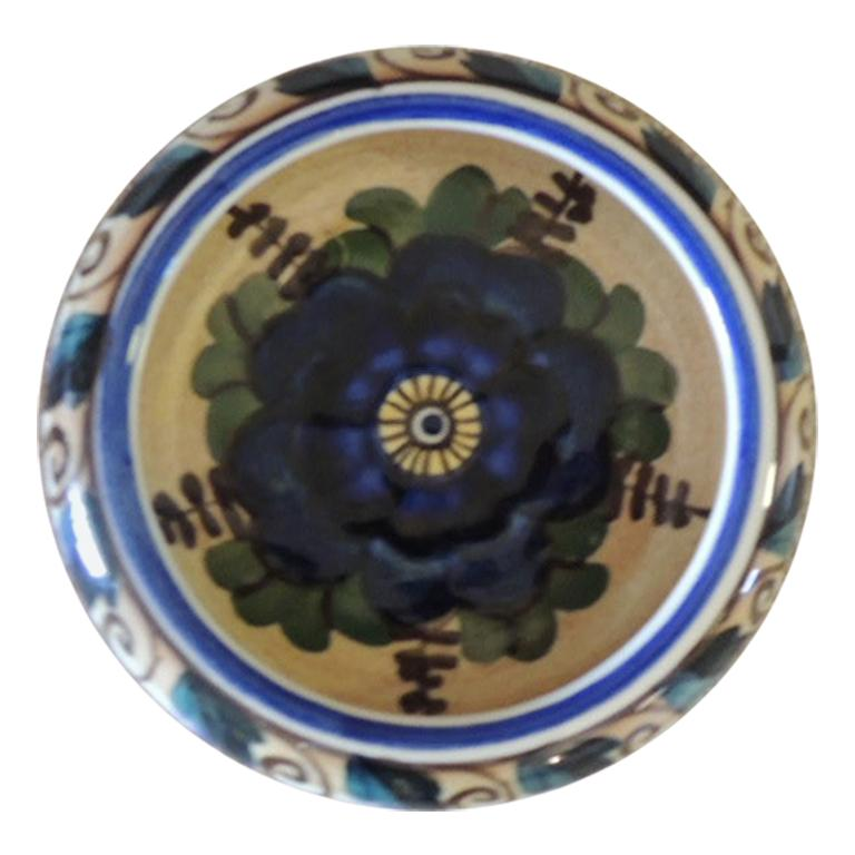 Vintage Round Blue and Green Decorative Dish For Sale