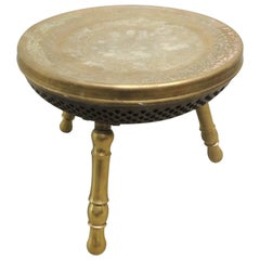 Vintage Round Brass Indian Stool with Tripod Legs