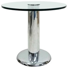 Vintage Round Chrome and Glass Center Table