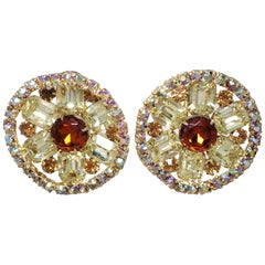 Vintage Round Crystal Clip On Earrings, Aurora Borealis, Amber, Citrine Colors
