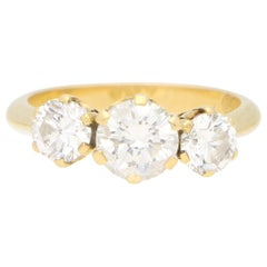 Vintage Round Cut Diamond Three Stone Engagement Ring Set in 18k Yellow Gold