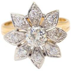 Vintage Round Diamond Flower Ring 0.87 Carat 14 Karat White and Yellow Gold