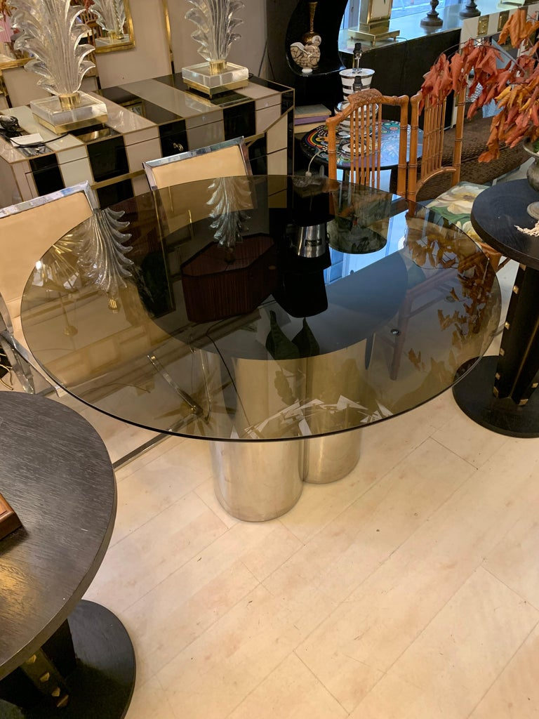 Mid-Century Modern Vintage Round Dining Table with Glass Fumé Top and Chromed Fittings, 1970s For Sale
