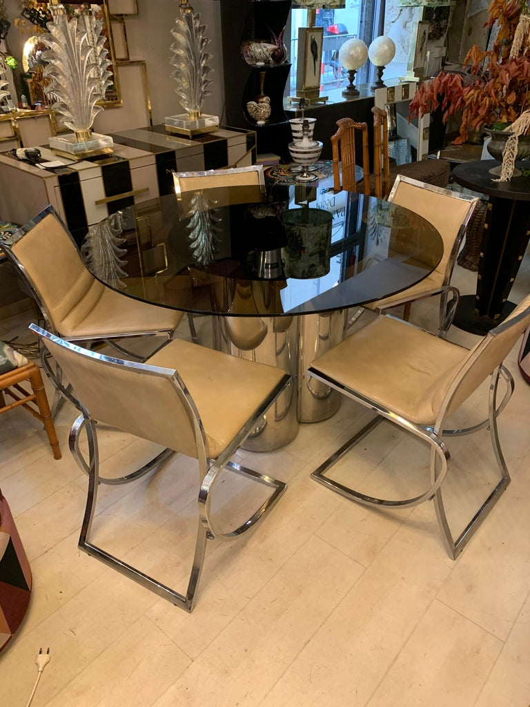 Italian Vintage Round Dining Table with Glass Fumé Top and Chromed Fittings, 1970s For Sale