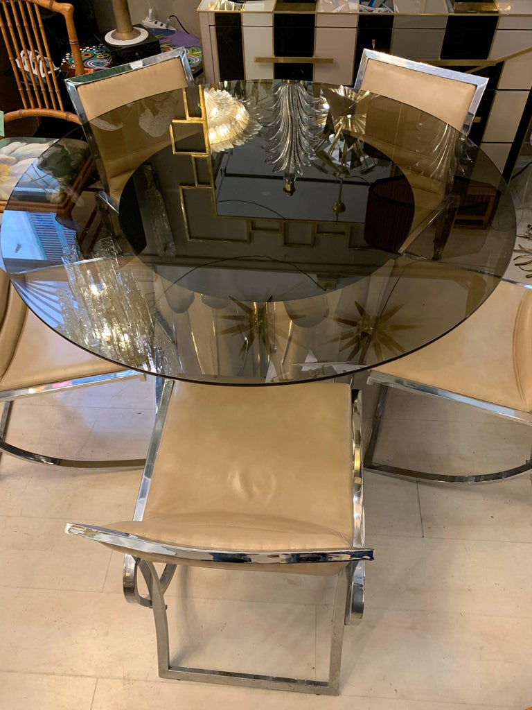 20th Century Vintage Round Dining Table with Glass Fumé Top and Chromed Fittings, 1970s For Sale