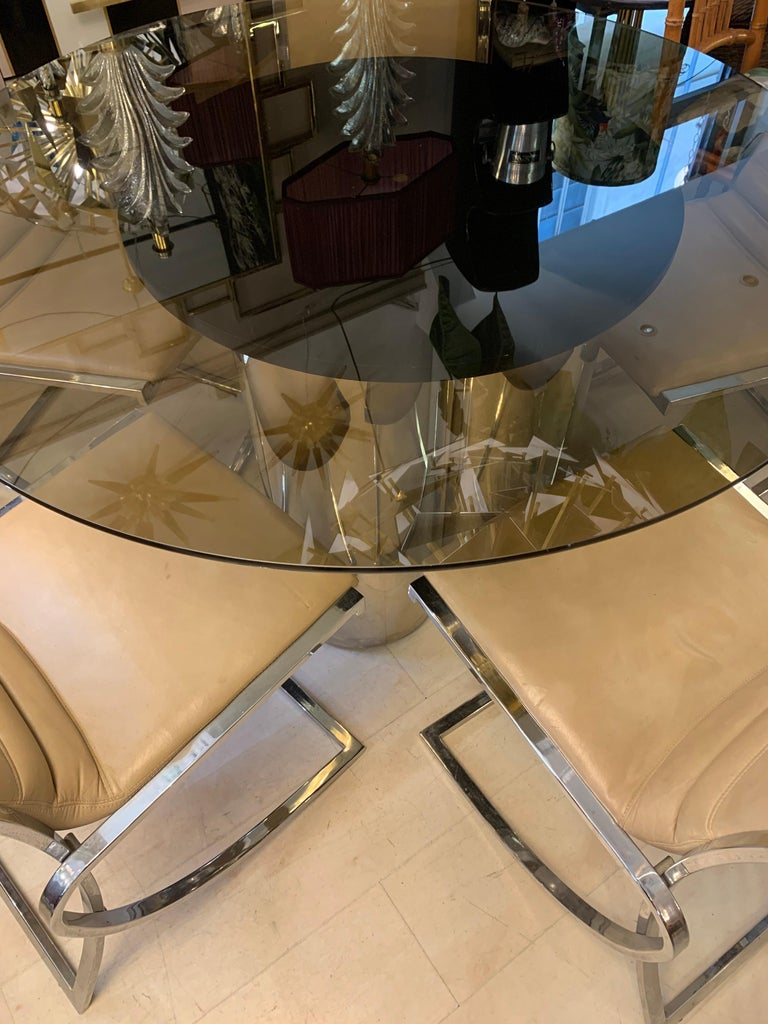 Vintage Round Dining Table with Glass Fumé Top and Chromed Fittings, 1970s For Sale 1
