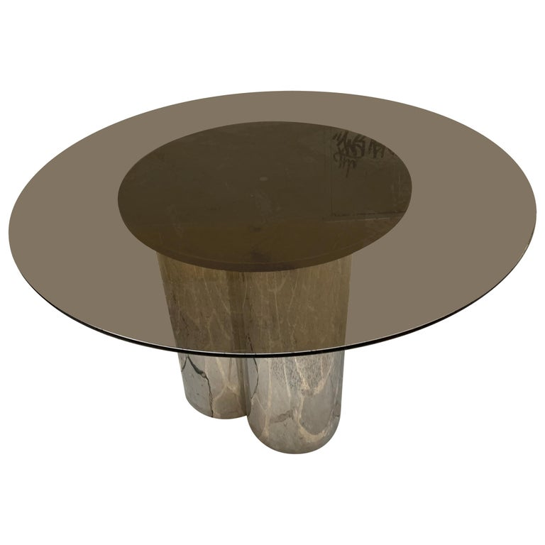 Vintage Round Dining Table with Glass Fumé Top and Chromed Fittings, 1970s For Sale