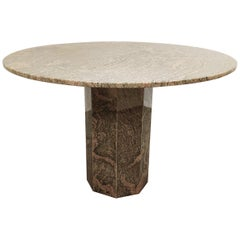 Vintage Round Granite Center Table, 1970s