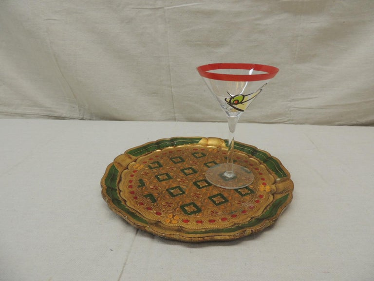 Bohemian Vintage Round Green and Gold Florentine Serving Tray For Sale