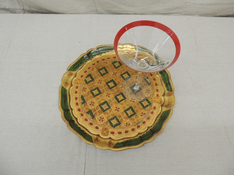 Italian Vintage Round Green and Gold Florentine Serving Tray For Sale