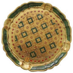 Vintage Round Green and Gold Florentine Serving Tray