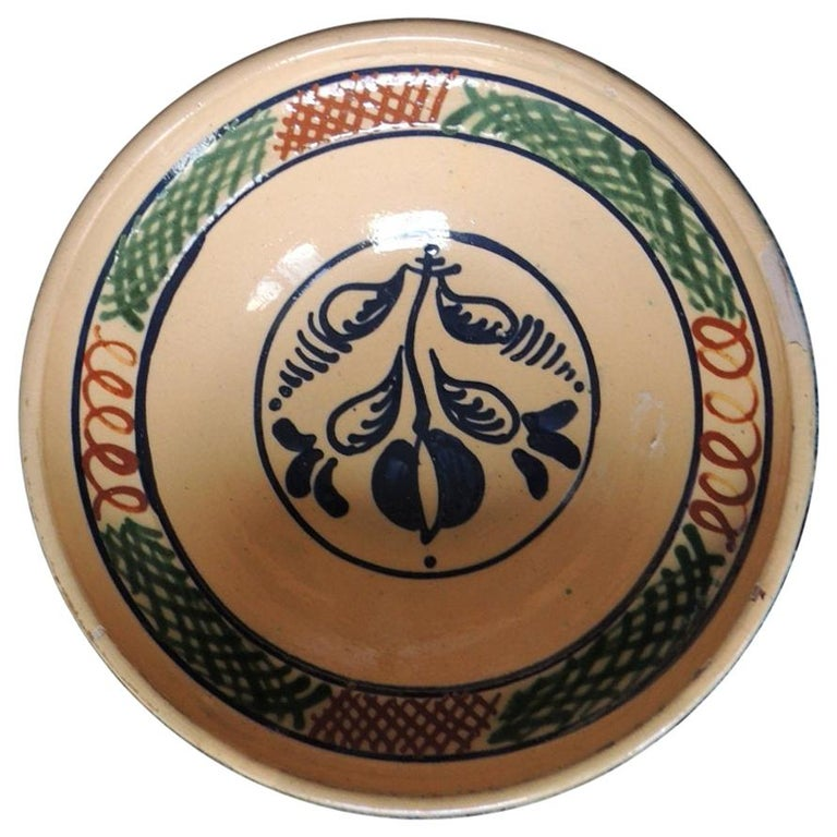 Vintage Round Green and Red Hand Painted Decorative Bowl For Sale