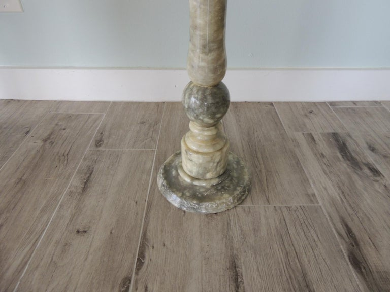 Neoclassical Vintage Round Grey and White Italian Carrera Marble Side Table For Sale