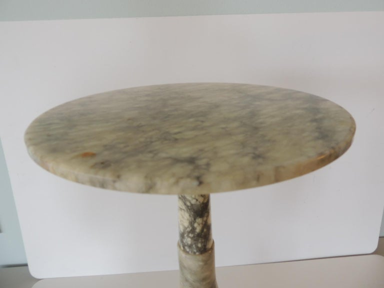 Alabaster Vintage Round Grey and White Italian Carrera Marble Side Table For Sale