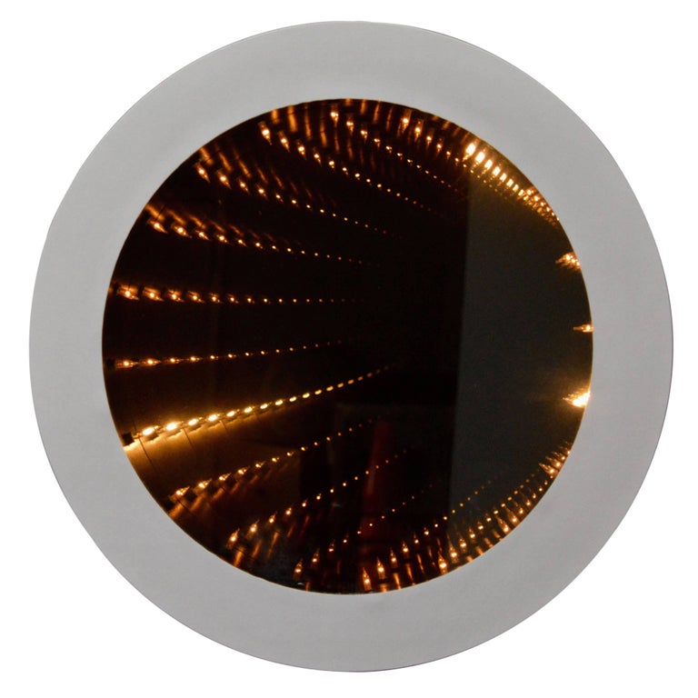 Groovy Round Infinity Mirrors At 1stdibs