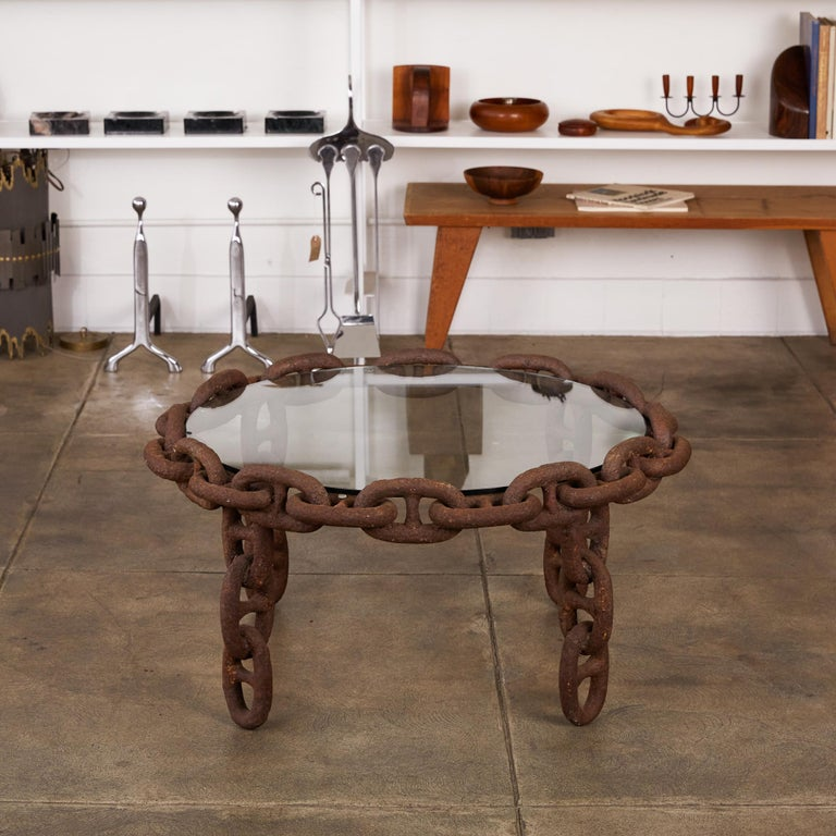 Mid-Century Modern Vintage Round Iron Chain Link Glass Coffee Table