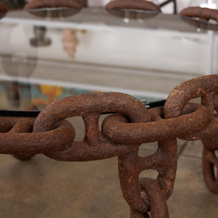 Vintage Round Iron Chain Link Glass Coffee Table In Excellent Condition In Los Angeles, CA