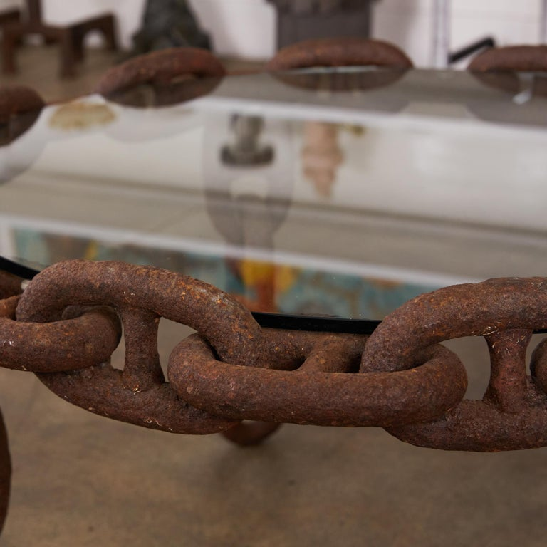Late 20th Century Vintage Round Iron Chain Link Glass Coffee Table