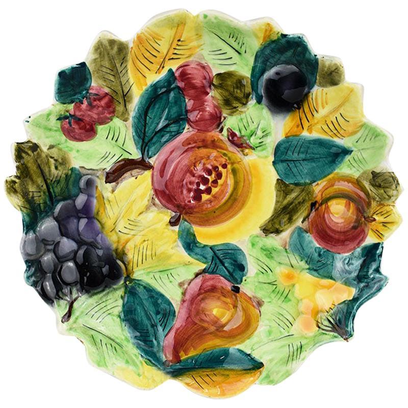 Vintage Round Italian Colorful Hand Painted Ceramic Majolica Fruit Platter