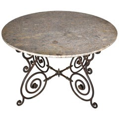 Vintage Round Italian Iron Garden or Dining Table with Marble Top