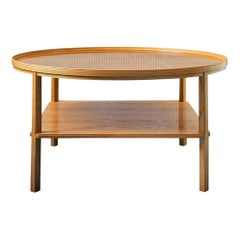 "Vintage Round Kaare Klint ""Rygebord"" Table In Elm Wood, Denmark 1960's"