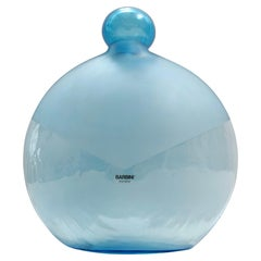 Vintage Round Light Blue Murano Glass Bottle by Alfredo Barbini, Italy 1980s