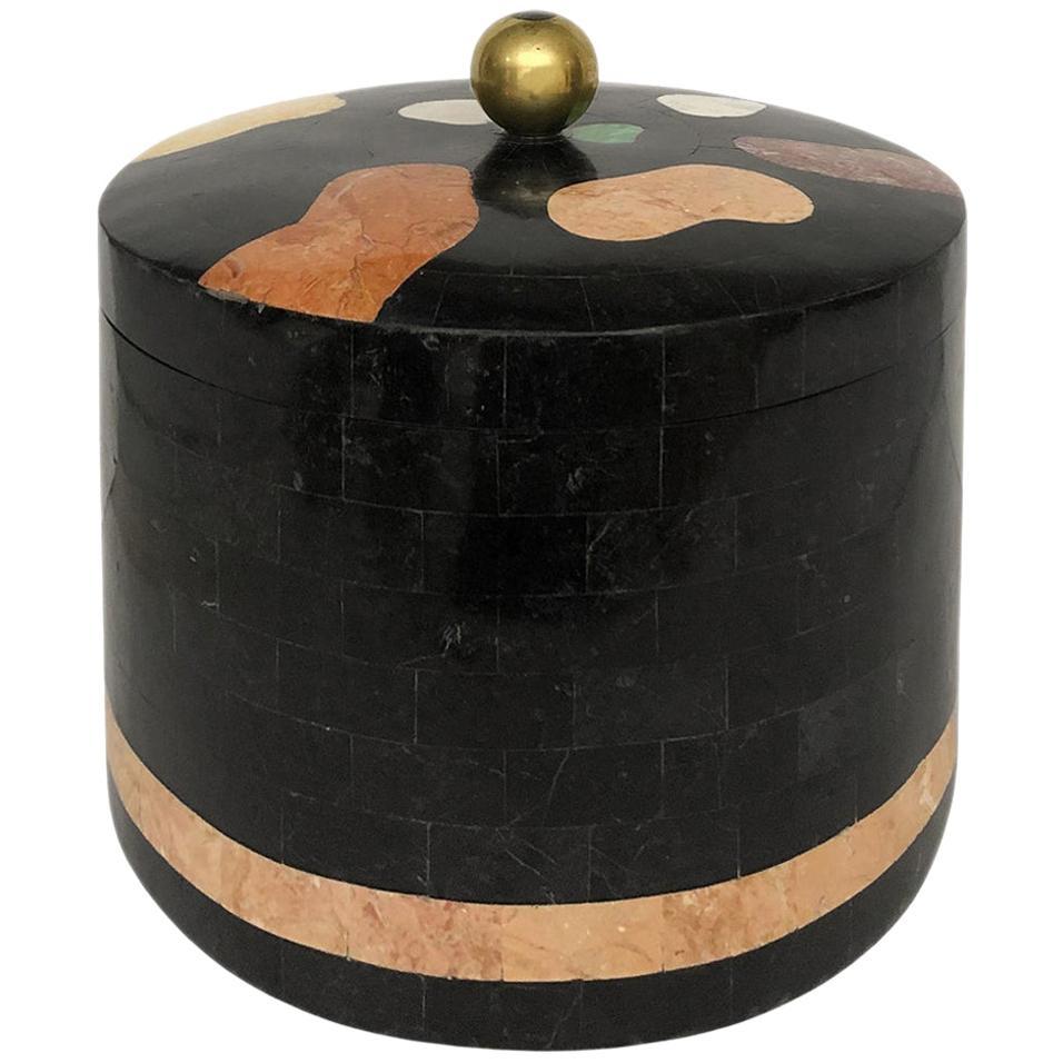 Vintage Round Maitland Smith Tessellated Stone Box