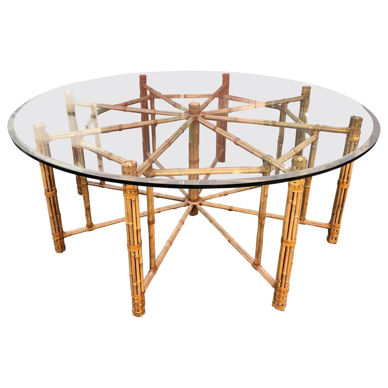 Glass Dining Table For Sale: Vintage Round McGuire Bamboo And Glass Dining Table For