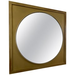 Vintage Round Mirror on a Square Gold Frame