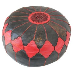 Vintage Round Moroccan Red and Black Leather Pouf Hand Tooled in Marrakech
