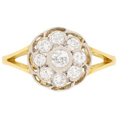 Vintage Round Old Cut Diamond Cluster Ring, circa 1940s