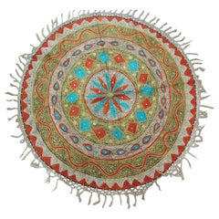Vintage Round Orange and Turquoise Suzani Embroidered Table Topper