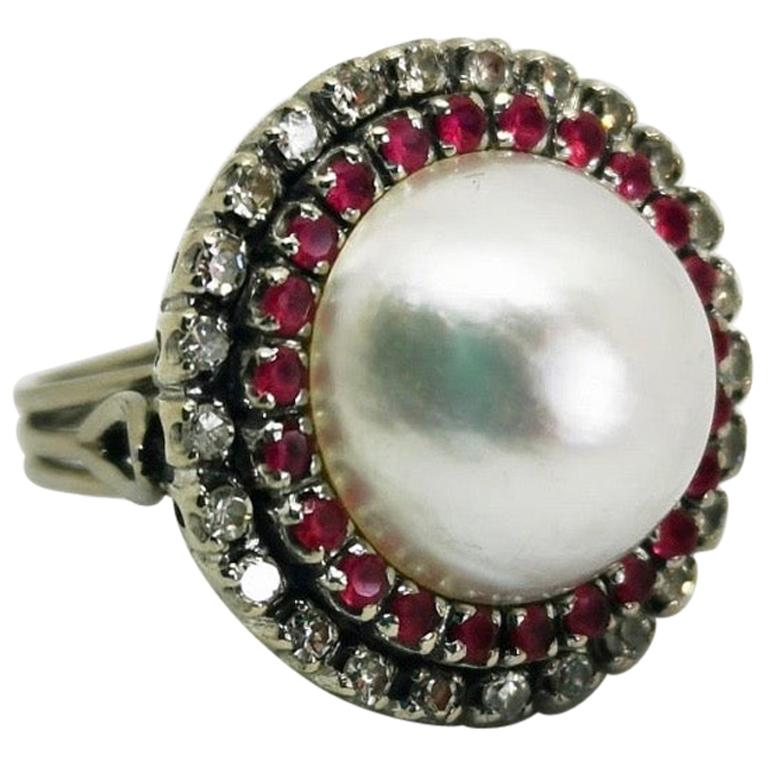 Vintage Round Pearl Ruby Diamond Cocktail Ring For Sale