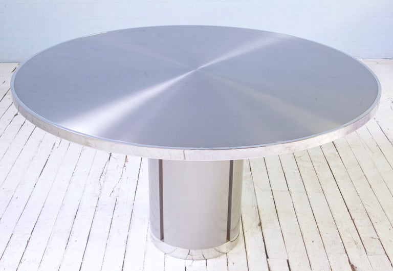 Mid-Century Modern Vintage Round Pedestal Dining Table in Aluminum & Chrome, Italy, 1970s For Sale