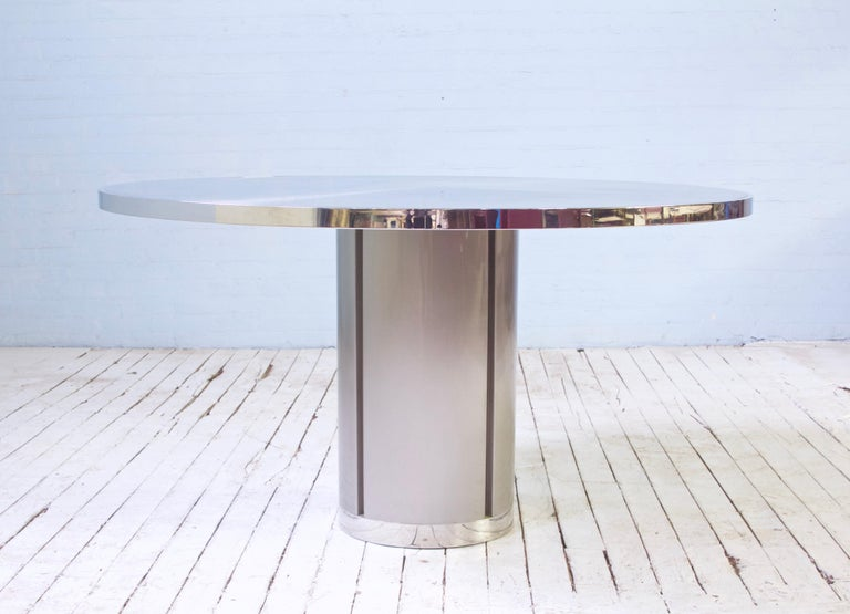 Italian Vintage Round Pedestal Dining Table in Aluminum & Chrome, Italy, 1970s For Sale